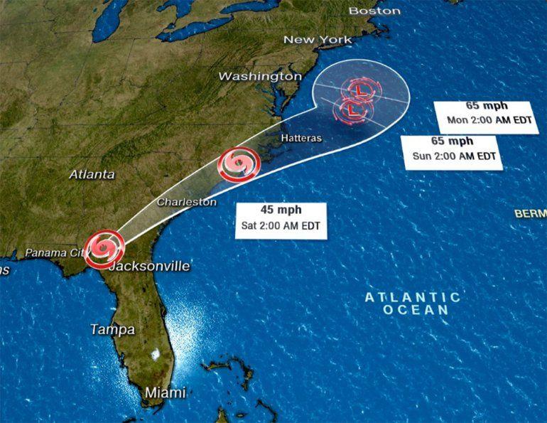 Ruta proyectada de la tormenta tropical Hermine.