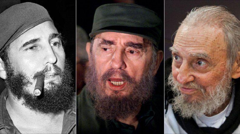 El fallecido gobernante cubano Fidel Castro en tres momentos de su vida. Castro murió este 25 de noviembre a los 90 años de edad en La Habana. Cuba.