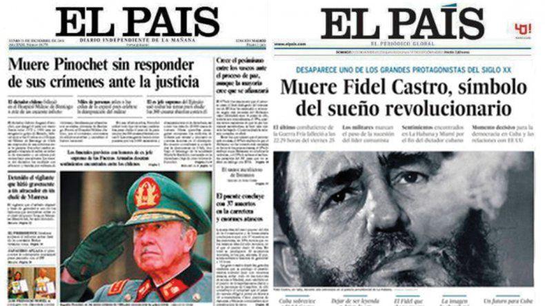 Las muertes de Pinochet y Castro, según El País de España