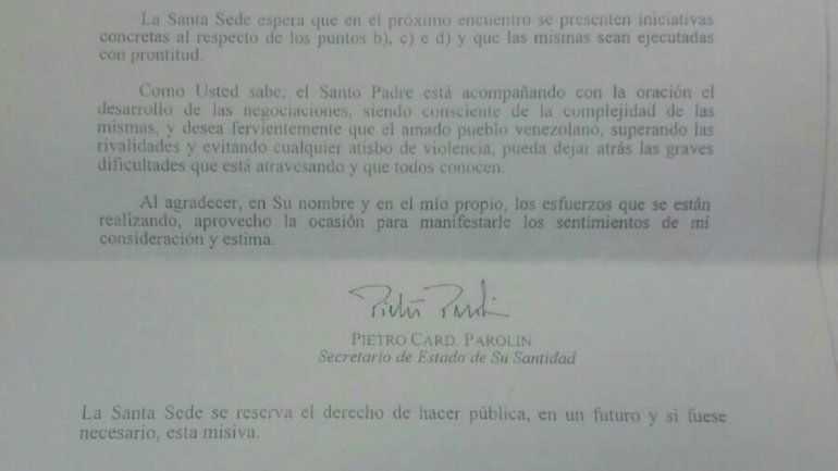 Esta es la carta completa que envió el Vaticano a la mesa de diálogo en Venezuela