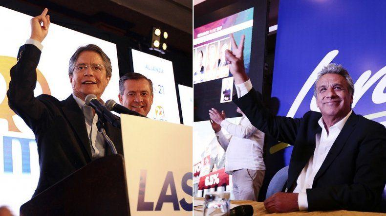 Los candidatos Guillermo Lasso (iza.) y Lenín Moreno (der.) tienen ante sí el reto de la segunda vuelta electoral a definirse el 2 de abril en Ecuador.