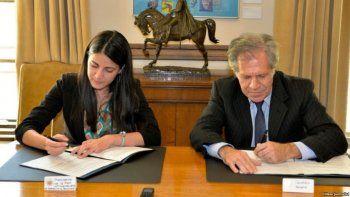 Rosa María Payá junto a Luis Almagro, secretario general de la OEA.