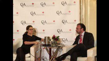 La ministra de Asuntos Exteriores de Canadá, Chrystia Freeland, y el ministro de Relaciones Exteriores de México, Luis Videgaray.