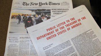 El texto de El Aissami en un anuncio pagado en la edición impresa del diario, que ocupa toda la página 5 del primer cuadernillo de The New York Times.