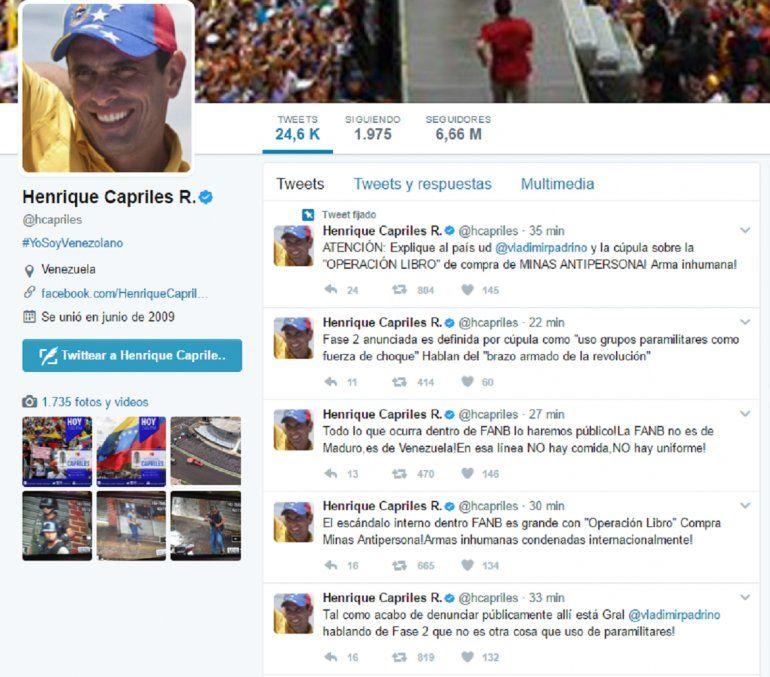 Cuenta de Twitter de Henrique Capriles este 17 de mayo.