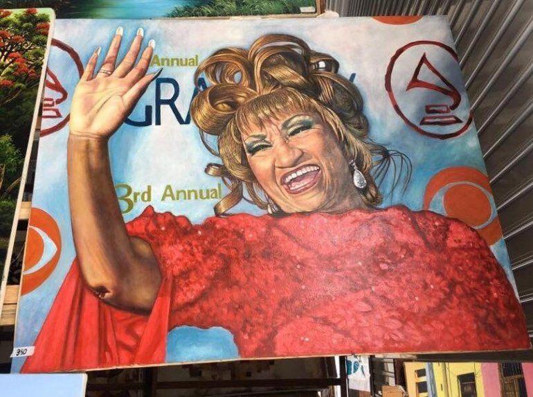 Uno de los cuadros de Celia Cruz que se venden en La Habana.