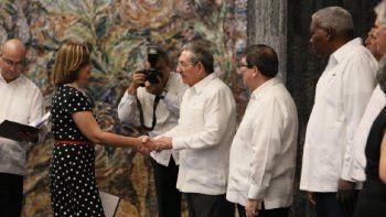 Josefina Vidal durante la ceremonia de juramento de los nuevos embajadores designados por el régimen de La Habana.