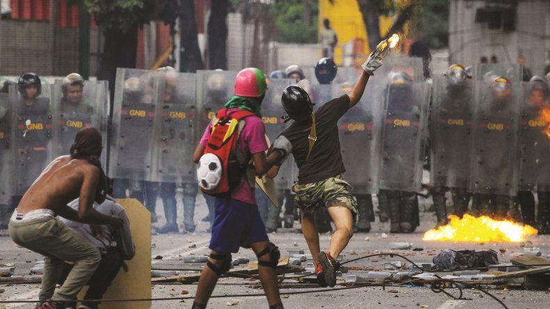 Imagen de las protestas en Caracas.