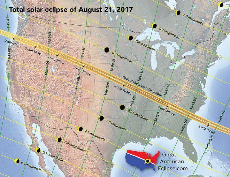 El eclipse total de Sol sumirá en una oscuridad total a una pequeña franja de Estados Unidos de forma sucesiva y durante unos dos minutos. La zona afectada está marcada en el mapa.