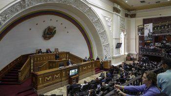 Vista general del hemiciclo del palacio federal legislativo el 15 de agosto de 2017, durante una sesión del Parlamento venezolano, de mayoría opositora, antes de ser tomado por la fraudulenta Constituyente de Nicolás Maduro.