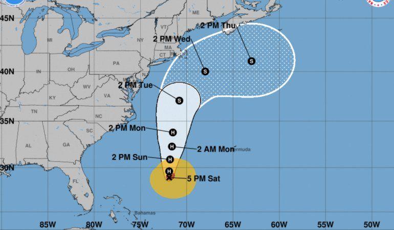 Patrón de trayectoria del huracán José.