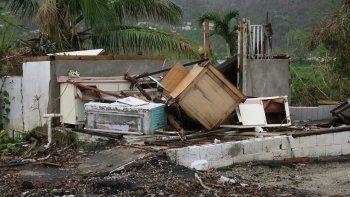 Vista de una casa totalmente destruida por el paso del huracán María, en el municipio de Yabucoa, al sureste dePuertoRico.