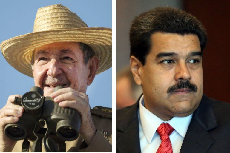 Raúl Castro y Nicolás Maduro, los dos dictadores ausentes.