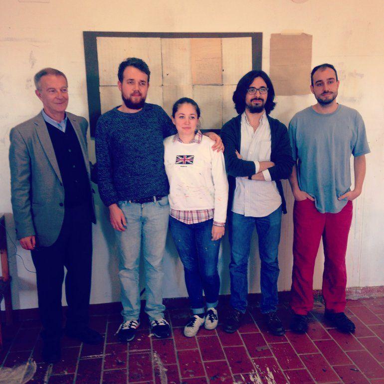 José Guirao, a la izquierda, con artistas de la decimotercera promoción de la Fundación Antonio Gala, David Pérez Busto, Virginia Bersabé, Jesús Zurita y Beñat Romera.