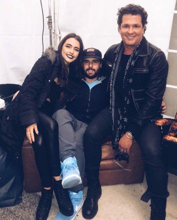 El cantautor y sus dos hijos mayores, Lucía y Carlos, que tuvo con la boricua Herlinda Gómez.