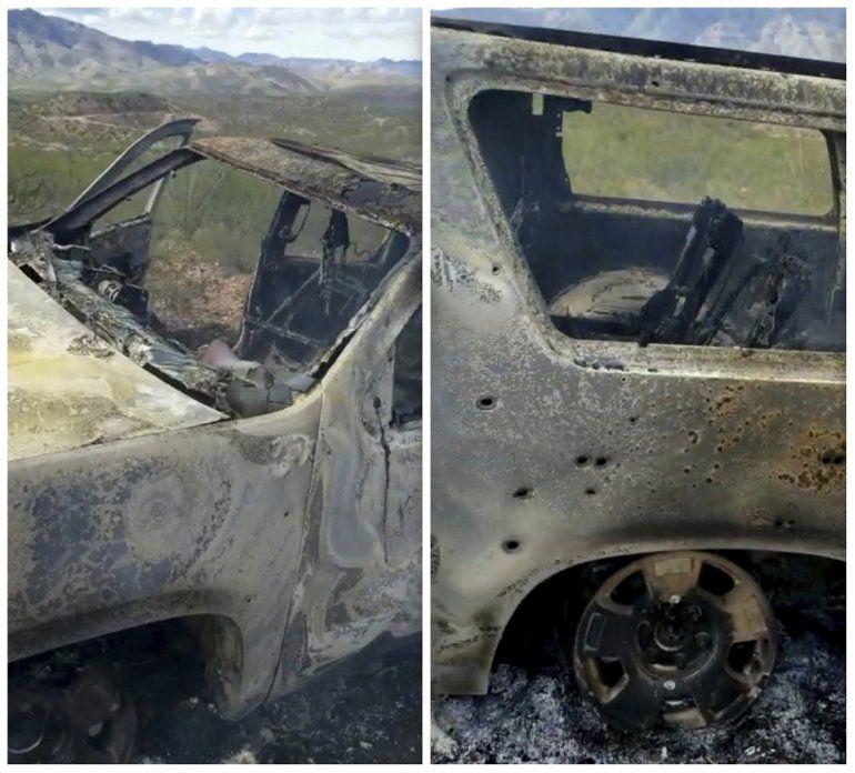 Combinación de imágenes de un video de Kenny Miller del 4 de noviembre de 2019 publicado en la cuenta de Twitter de Alex LeBarón de un vehículo calcinado en el que iban algunos miembros de la familia LeBarón cerca de la frontera entre los estados fronterizos de Sonora y Chihuahua en México.
