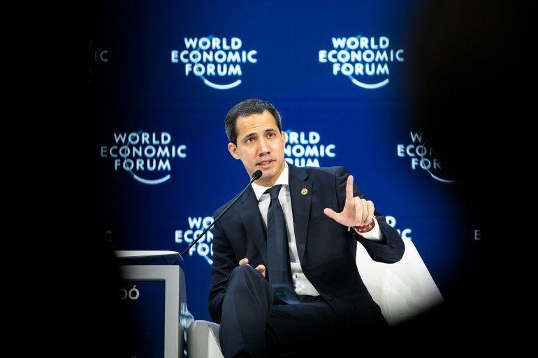 Juan Guaidó, en el Foro Económico Mundial de Davos (Suiza).