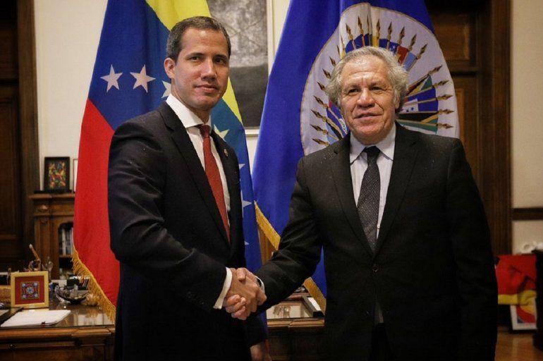 El seretario de la OEA, Luis Almagro, se reunió con el presidente encargado de Venezuela, Juan Guaidó, en la sede de ese organismo, en Washington, el 6 de febrero de 2020.