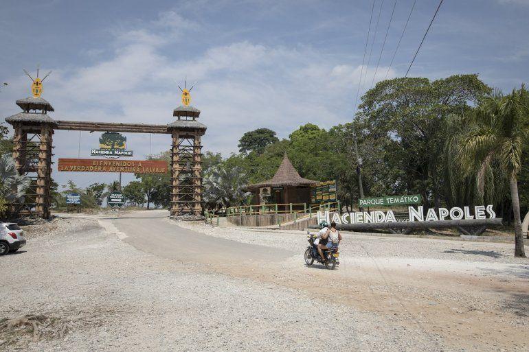 Entrada al Parque Temático Hacienda Escobar, en la enorme hacienda que fue propiedad de Pablo Escobar y donde hay varios rinocerontes descendientes de los cuatro que el narcotraficante tenía en un zoológico privado. Foto del 11 de febrero del 2020.