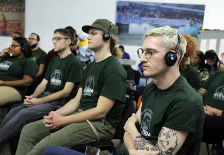 Miembros de la brigada internacionalista Che Guevara, en Venezuela. 12 de sus integrantes radican en Estados Unidos.