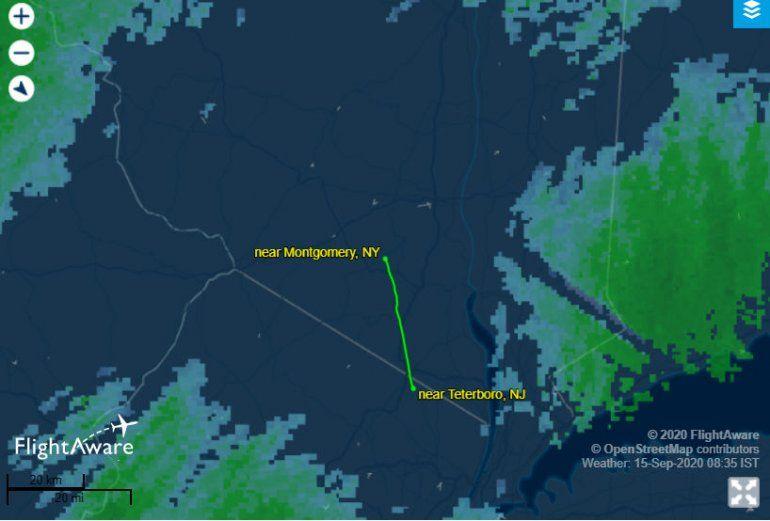 Imagen facilitada por un usuario de Reddit y publicada por RepublicWorld.com que muestra lo que sería la trayectoria del dirigible Goodyear el lunes 14 e septiembre de 2020.