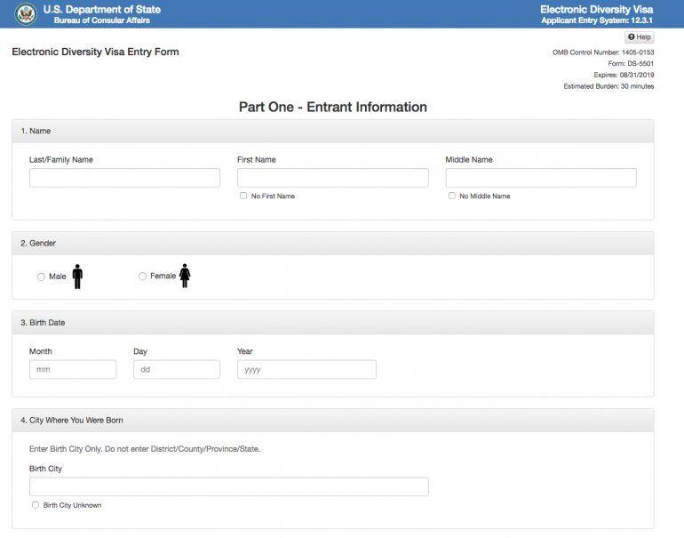 La primera parte del formulario aparece para colocar el nombre del titular de la solicitud. Cabe destacar que cada persona de un matrimonio puede hacer una solicitud por separado, y deberá incluir los datos del cónyuge. Aquí se coloca en Last/Family Name el apellido. Luego el primer nombre y luego el segundo nombre en caso de tenerlo.