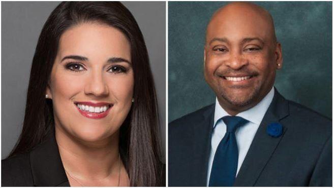 Los senadores Anitere Flores (republicana) y Oscar Braynon (demócrata)