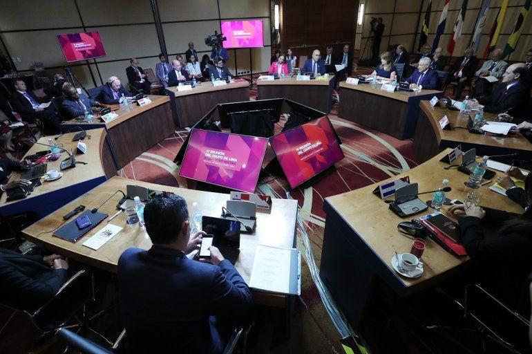 Vista general de la reunión delGrupodeLimaeste martes 23 de enero de 2018 en Santiago de Chile.
