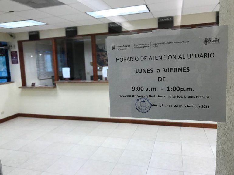 El Consulado de Venezuela en Miami ofrecerá servicios públicos entre las 9 de la mañana y la 1 de la tarde.