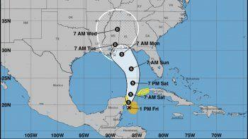 Mapa de probable trayectoria de la tormenta subtropical Alberto.