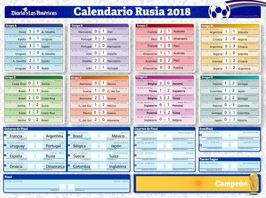 Calendario Mundial Rusia 2018.Asi Va El Mundial Rusia 2018 Resultados Clasificados Y