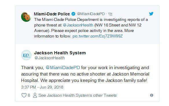 Imagen de tuits enviados por la Policía y la administración del cxentro hospitalario.
