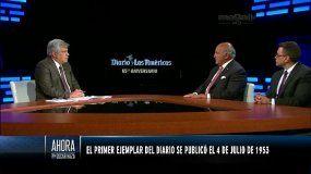 Nelson J. Mezerhane G. (cen.) y Osmín Martínez (der.) participan en el programa Ahora con Oscar Haza, de América TeVé.