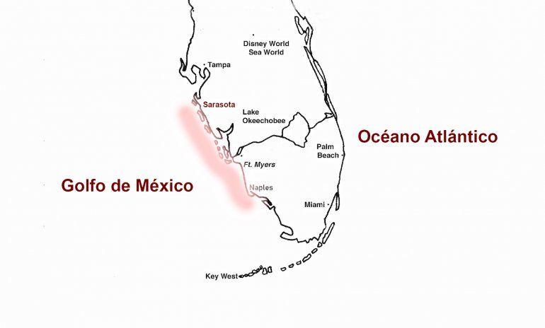 La llamada marea roja se extiende desde la zona de Sarasota hasta Naples.