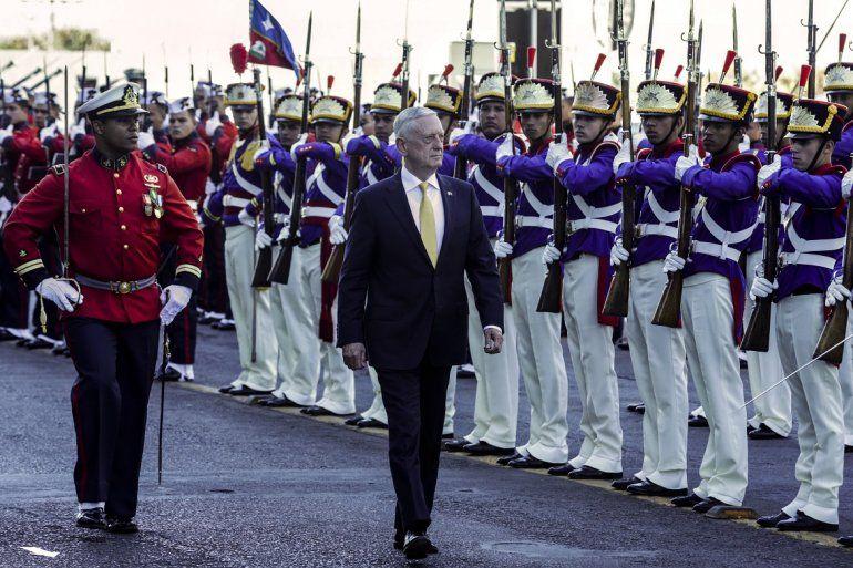 Secretario de Defensa James N. Mattis recibido en el Ministerio de Defensa en Brasilia el 13de agosto de 2018.