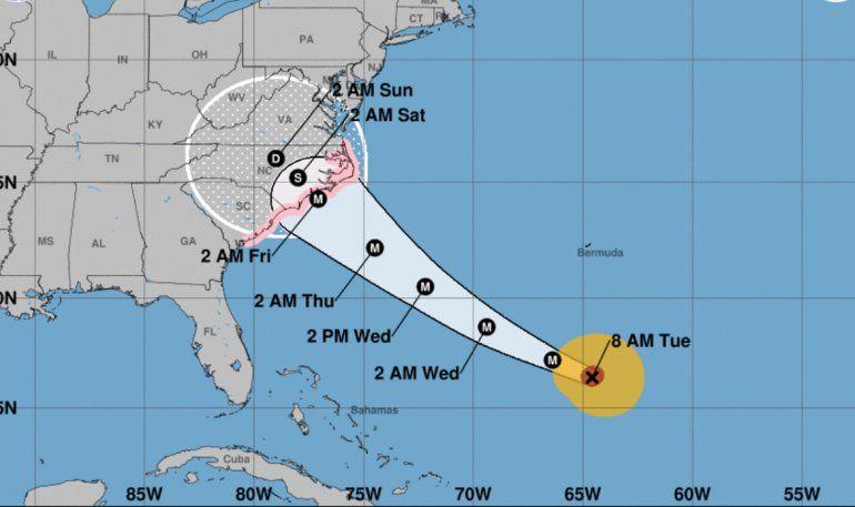 Cono de trayectoria del huracán Florence.