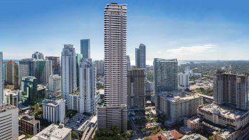 Representación aérea de la torre Brickell Flatiron que actualmente se construye en el 1001South Miami Avenue, en la Ciudad del Sol.