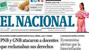 El Nacional: Edición del 15 de noviembre de 2018