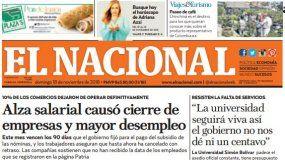 El Nacional: Edición del 18 de noviembre de 2018