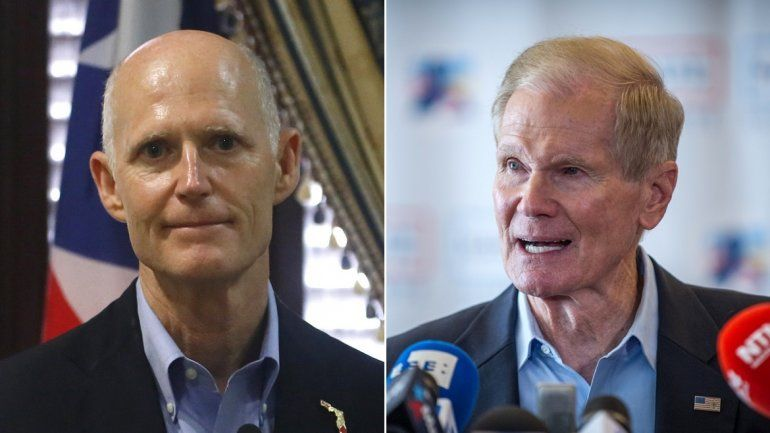 El republicano Rick Scott (izq.) ganó ante el demócrata Bill Nelson (der.) un escaño en el Senado federal por el estado de la Florida.