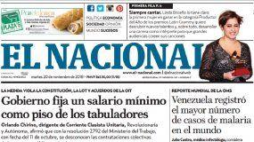 El Nacional: Edición del 20 de noviembre de 2018