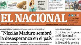 El Nacional: Edición del 16 de diciembre de 2018