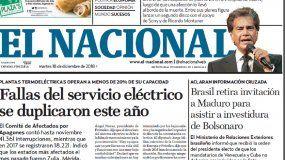 El Nacional: Edición del 18 de diciembre de 2018