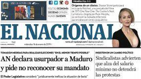 El Nacional: Edición del 16 de enero de 2019
