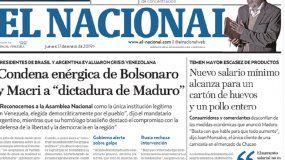 Portada de El Nacional.