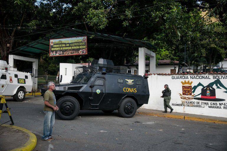 Vista externa del comando de la Guardia Nacional Bolivariana en Caracas