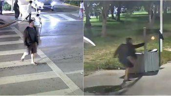 En un video difundido por la Policía en sus redes sociales, se ve al presunto asesino captado por varias cámaras de seguridad.