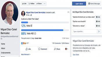 Una captura de pantalla de la cuenta no verificada que lleva el nombre del gobernante Díaz-Canel, donde recientemente se publicó una encuesta sobre el referendo constitucional.
