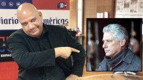 Juan Juan Almeida señala luna foto del designado gobernante cubano Miguel Díaz-Canel.