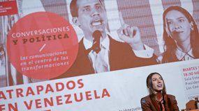Fabiana Rosales, esposa del presidente de la Asamblea Nacional de Venezuela, Juan Guaidó, participa este martes a la Universidad Adolfo Ibáñez en Santiago (Chile), en una conversación sobre la realidad política de su país.